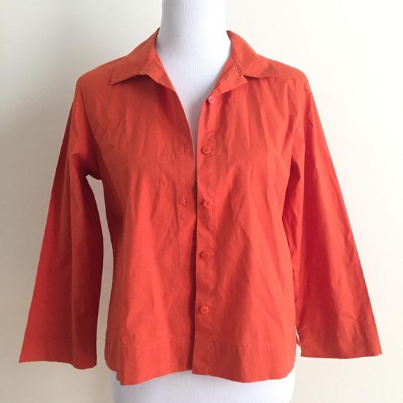 2239a1962 Eileen Fisher Tops | Orange Crop Sleeve Dress Shirt Small | Poshmark